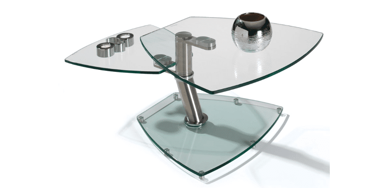 Table de salon en verre Manhattan 2 plateaux